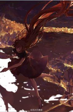Art by 四次元青苔 : Pin to Inspirational Color [Aikaterina Vangelis / Aika Vii] Fantasy Island, Anime Scenery, Anime Fantasy, Fantasy Landscape, Anime Artwork, Manga Art, Cool Drawings, Cool Art, Illustration Art