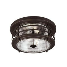 Sea Gull Lighting Sauganash 2-Light Outdoor Antique Bronze Ceiling Flush Mount with Clear Seeded Glass-7824402-71 at The Home Depot