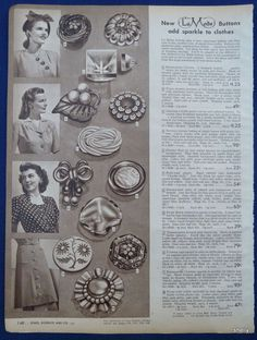 ButtonArtMuseum.com - Clothing Buttons Sewing Women Vintage 1940's Sears Spring Summer Original Ads | eBay - Collector Note: Example of Weeber-LIKE, not Weeber leaf celluloid. Would La Mode not have captured, and made $ on the Weeber name? This is 1945, 4 years into popularity, end of war era, so would there have been uncredited Cheerful Weeber buttons at this time??? It says New La Mode, so not, new old stock.