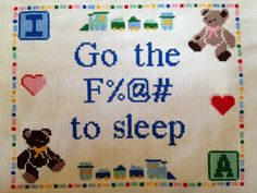 PATTERN  Go the F-ck to Sleep Baby Customizable Cross Stitch on Etsy, $7.00