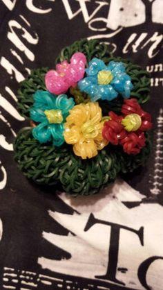 Rainbow loom flower and pot I made