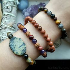 Boho summer stacks!  with crystals & other natural materials. These are all on stretchy string and only $13.95 each!  dress them up or down!   Www.mysticearthjewelry.etsy.com   #bohemian #bracelets #fashion #summer #hippie #modern #fem #crystals #handmade #bracelets #stacks #love #etsy #gemstone #jewelry #beads #inspiration #style #artisan #diy #crafts #artist