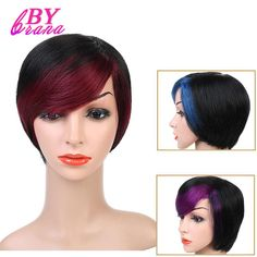 SalonChat Short Straight Human Hair Wigs Women's Omber Style Full Head Wig Non-Remy Hair Brazilian Human Wigs Black Color Wigs Human Hair Lace Wigs, Human Hair Wigs, French Street Fashion, Cheap Human Hair, Wig Making, Remy Hair, Brazilian Hair, Hair Type, Wig Hairstyles