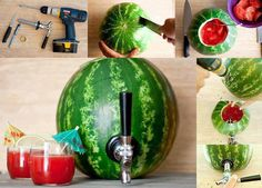 Make your own Watermelon Cocktail Keg for your next summer gathering!  It's easy to turn a large ripe Watermelon into the talk of your next party. Impress your family and friends with this creative centerpiece. Just fill it with your favorite party beverage, cocktail or fruit punch.