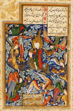 In späteren Jahrhunderten bildeten die Künstler Mohammed ohne Gesichtszüge ab. Stattdessen zeigten sie ihn mit einem Feuerball um den Kopf. Sie nahmen damit Bezug auf mehrere Koranverse, in denen davon die Rede ist, dass Gott die Menschheit mit Mohammeds Hilfe aus der Dunkelheit geführt habe. getty images/heritage images