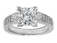 Three Stone Princess Diamond Vintage Style Engagement Ring with Round Sidestones in 14K White Gold 0.55 tcw.