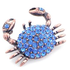 Sapphire Blue Crab Crystal Pin Brooch And Pendant Witch Jewelry, Jewelry Art, Antique Jewelry, Vintage Jewelry, Jewelry Accessories, Fine Jewelry, Jewelry Design, Nautical Jewelry, Animal Jewelry