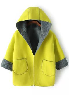 Yellow Hooded Pockets Loose Coat - Sheinside.com