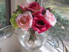 Silk Flower Arrangement-Pink  Bright Pink by FlowerIsland on Etsy