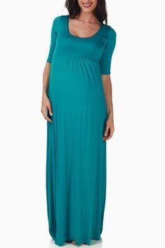 Teal Maternity Maxi Dress #maternity #fashion