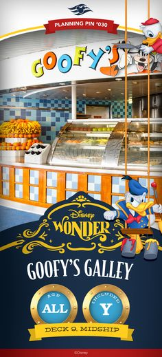 Goofy for good food? At this poolside eatery, you're invited to chow down on a lip-smacking selection of health-conscious eats, including salads, sandwiches and fruit—plus a few tasty treats, like chocolate chip cookies and soft-serve ice-cream. Click to learn more about dining available aboard Disney Cruise Line.