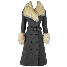 Vintage 1970's Charcoal Wool Curly Lamb Fur Coat | From a collection of rare vintage coats and outerwear at https://www.1stdibs.com/fashion/clothing/coats-outerwear/