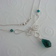 Saraphina emerald wire wrapped necklace by ColettesBoutique, $48.00