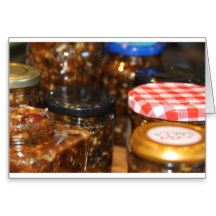 Jars of mincemeat greeting card