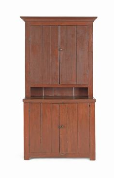 Painted pine two-part wall cupboard, 19th c., 75''