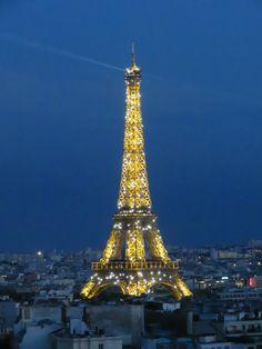 Sparkling Eiffel Tower, Paris.  View from the top of the Arc de Triomphe, Paris. (Photo: WendyJames ~ July 2016)
