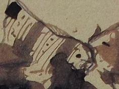 """Ce détail d'un dessin de Victor Hugo représente le décolleté, et un sein nu, d'une femme dont on ne voit pas la """"main colère"""" - Lié au poème """"Quand les guignes furent mangées"""", du recueil """"Les Chansons des rues et des bois (I. Floréal)"""" de ce même Victor Hugo."""
