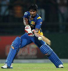 Kusal Perera (SL) 64, powers the ball through the off side, vs Bangladesh, only Twenty20, Pallekele, March 31, 2013