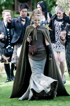 A woolen and tweed wedding gown . . . only in Scotland. Gorgeous!