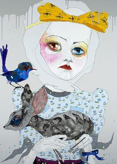 Boy do we love Del Kathryn Barton, known to bend the boundaries with pet friendliness - gorgeous ink detail and doe eyed fashion dolls have us sold. Art And Illustration, Arte Inspo, Kunst Inspo, Hugo Weaving, Del Kathryn Barton, Australian Artists, Painting & Drawing, Collage Drawing, Les Oeuvres