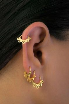 Set of Gold Plated Ear Piercings, Fits Tragus, Helix & Cartilage, Indian & Tribal Style Piercing Jewelry  Wearing one earring is lovely & fashionable. Layering set of earrings is an art, and definitely - a statement!  Cartilage Earring, Helix Earrings, Tragus Earrings, Hoop Piercing, Piercing Jewelry, Cartilage Piercing, Indian Piercing, Helix Cuff, Set #piercing #earrings