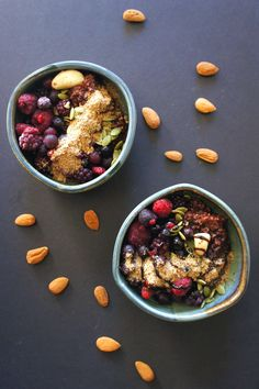 Make-ahead steel cut oatmeal with chocolate and berries.