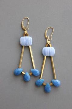18k gold plated brass hook earrings with dyed jade and brass findings. I Love Jewelry, Charm Jewelry, Wire Jewelry, Beaded Jewelry, Handmade Jewelry, Jewelry Design, Jewelry Findings, Jewelry Ideas, Bridal Jewelry