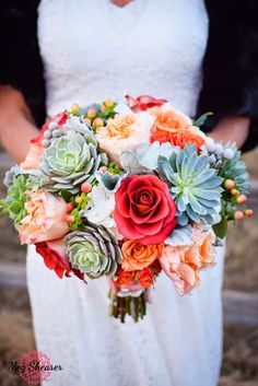 Wedding Flower Bouquets Orange and Gray Succulent Bouquet. Its a bit too big! Thinking maybe half this size - but love the colours :-) Wedding Goals, Red Wedding, Floral Wedding, Fall Wedding, Church Wedding, Summer Wedding Bouquets, Flower Bouquet Wedding, Flower Bouquets, Succulent Bouquet