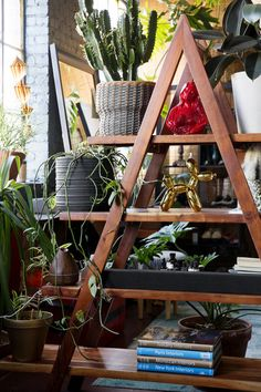 The Eclectic Maximalist Home Of Nashville's Coolest Fashion Designer - Home Tour - Lonny Step Bookcase, Bookshelves, Wooden Countertops, Frame Shelf, Decorative Items, Nashville, Ladder Decor, House Design, Shelving Units