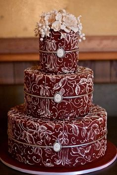 Chocolate. All Chocolate. OMG. And I hope this one is Red Velvet inside- because it's still chocolate. Cake Wrecks - Home - Sunday Sweets: Wedding Cakes inChocolate