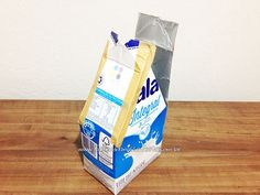 Passo 8 - Como fazer casinha de passarinho com caixa de leite Nalu, Casket, Paper Flowers, Origami, Diy, Baby Shower, Craft Box, Peso De Porta, Bird Party