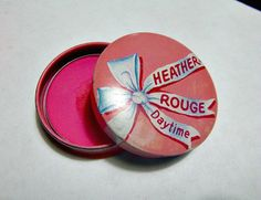 50's Rockabilly Pink Heather Rouge Tin Case Daytime Beauty Vanity Makeup Collectible Powder Blush Rouge Pot Cosmetic Compact Fifties Summer