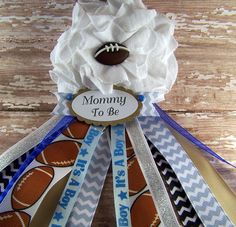 Football Mommy To Be Corsage Ready To Ship by BloomingParty, $16.00 Firefighter Baby Showers, Football Baby Shower, Baby Shower Games, Baby Shower Parties, Baby Boy Shower, Baby Corsage, Babyshower, Star Baby Showers, Baby Shower Gender Reveal