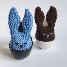 this cute little knitted egg cozy is shaped like bunny head its knitted flat and