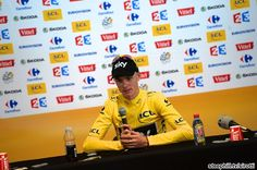 TDF 2013 stage 20.  Chris Froome addresses the media.