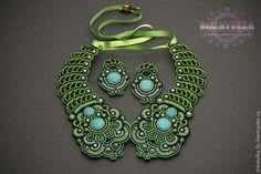 Купить Комплект: воротник и серьги - ожерелье, воротничок съемный, ручная авторская работа, голубой, зеленый