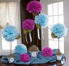 topiarios de papel seda para centros de mesa