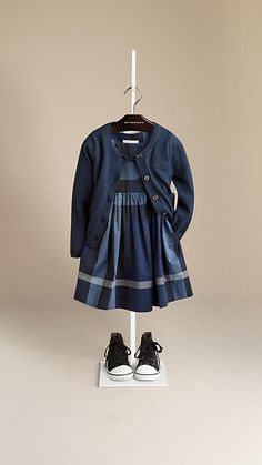 Burberry Dark Canvas Blue Classic Cotton Cardigan - Classic round neck cardigan in soft cotton. Patch pockets, ribbed neckline, cuffs and hem. Discover the childrenswear collection at Burberry.com