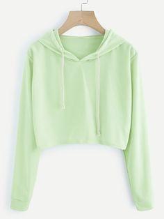 dcdb850f6e5780 Romwe Drawstring Hooded Crop SweatshirtL Cropped Hoodie
