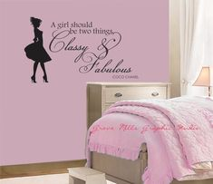Items similar to Classy and Fabulous Wall Decal - Coco Chanel Wall Quote - Girls Room Wall Decal - Girls room wall art - girl wall decor on Etsy Pink Bedroom Decor, Girl Bedroom Walls, Wall Decals For Bedroom, Teen Room Decor, Bedroom Art, Bedroom Ideas, Girl Room Quotes, Teenage Girl Bedrooms, Girl Rooms