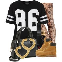 A fashion look from January 2014 featuring Topshop t-shirts, 2b bebe tights and Timberland ankle booties. Browse and shop related looks.