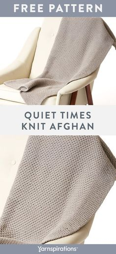 Free Quiet Times Knit Afghan pattern using Bernat Maker Home Dec yarn. Unwind and relax with this versatile afghan. Bernat Maker Home Dec is a soft and chunky tubular yarn that stitches-up quickly, so you'll be enjoying your blanket in no time. #yarnspirations #freeknitpattern #knitblanket #knitthrow #knitafghan #bernatyarn #bernatmakerhomedec Knitting Patterns Free, Free Knitting, Crochet Patterns, Blanket Patterns, Knitted Afghans, Knitted Blankets, Bernat Yarn, Knit Crochet, Crochet Hats