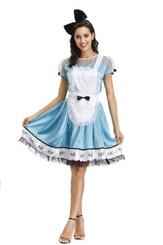 Adult Anime Alice In Wonderland Blue Party Dress Halloween Women Alice Dream Women Sissy Maid Lolita Cosplay Costume With Apron Cosplay Style, Blue Party Dress, Lolita Cosplay, Sissy Maid, Halloween Dress, Alice In Wonderland, Cosplay Costumes, Apron, Latest Trends