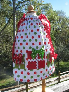christmas pillowcase dress, 1st christmas, christmas pictures, holiday dress by PJQuilts on Etsy