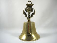 VINTAGE SOLID BRASS BURDOCK THISTLE FLOWER DINNER/SERVICE BELL-MADE IN ENGLAND