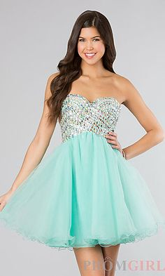 Strapless Short Beaded Prom Dress at PromGirl.com