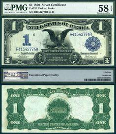 "US 1899 $1 Silver Certificate ""Black Eagle"" PMG Graded AU58EPQ FR-232 Stacks Bowers 8/11/2013 UCREU"