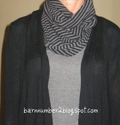 This is the greatest thing ever ~ make no sew infinity scarves from t-shirts purchased at Goodwill, garage sales, etc.  Less expensive and can customize to outfits!  So simple!!