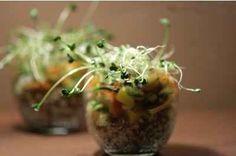 """750g vous propose la recette """"Verrine de quinoa, petite salade de surimi, mangue et graines germées."""" notée 4.5/5 par 8 votants."""