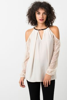 Suzy Shier Cold Shoulder Blouse With Lace Sleeves